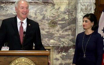 Gov. Asa Hutchinson and Medicaid Administrator Seema Verma announce a waiver Monday allowing a work requirement for enrollees in the Arkansas Works health-care program. (YouTube)