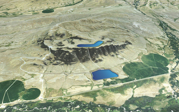 An artist rendering of Gordon Butte Storage Hydro Project shows where the two reservoirs for the system would be located. (Absaroka Energy)