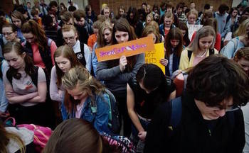 Students across Montana participated in a walkout last week to protest gun violence. (Helena Youth Against Gun Violence)