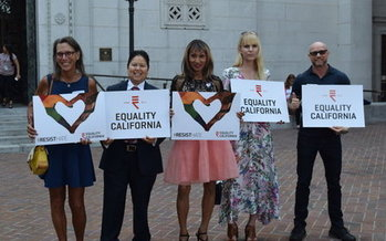 Transgender activists demonstrate at the Los Angeles announcement of Stockman v. Trump, the lawsuit challenging the transgender military ban.(Equality California)