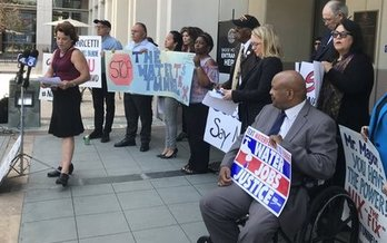 Conservation groups protested before the Metropolitan Water District vote in Los Angeles on Tuesday. (Restore the Delta)