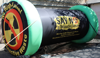 Opponents of a nuclear-waste facility for southern New Mexico are on a state tour this week with a mock radioactive waste canister. (Don Hancock)