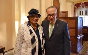 Rep. Alma Adams, D-N.C., pictured here with Sen. Chuck Schumer, D-N.Y., introduced legislation last week to recognize Black Maternal Health Week. (Rep. Alma Adams)