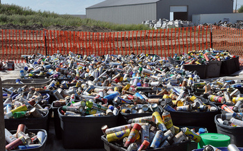 Hazardous materials are separated at a landfill in Minot, N.D. (Shannon Bauer/U.S. Army Corps of Engineers)