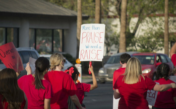 In a recent vote, nearly 80 percent of Arizona teachers said they wanted to strike rather than accept Gov. Doug Ducey's proposed plan to boost salaries. (Katherine Davis-Young/Public News Service)