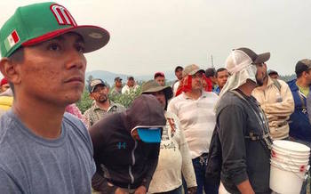 Farmworkers in Sumas, Wash. protested after their fellow laborer died while working during wildfires last year. (Edgar Franks/Community to Community Development)