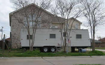 The harmful effects of excessive formaldehyde in wood products came into sharp focus in FEMA trailers after Hurricane Katrina. (Infrogmation/Wikimedia Commons)