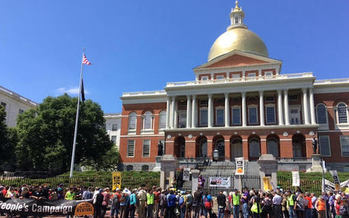 The Boston Poor People's Campaign held a rally at the Massachusetts State House in Boston on Monday, calling for a $15 minimum wage, paid family and medical leave, and a