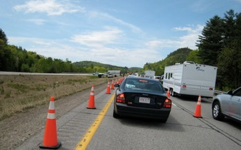Customs Border Patrol checkpoints that have sprung up in New Hampshire are slowing traffic and alarming some people. (Chris Dag/Flickr)
