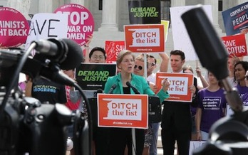Sen. Elizabeth Warren, on the steps of the Supreme Court, told the crowd,