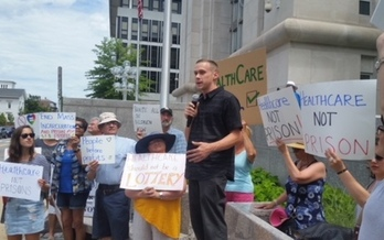 Protesters were part of U.S. Attorney General Jeff Sessions' visit to Concord. They say dismantling the Affordable Care Act will make it harder to fight opioid abuse. (Granite State Progress)