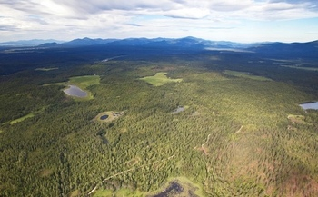 Clagstone Meadows in northern Idaho, owned by Stimson Lumber, was protected from development by the LWCF. (Kestrel Aerial Services/Idaho Dept. of Fish and Game)