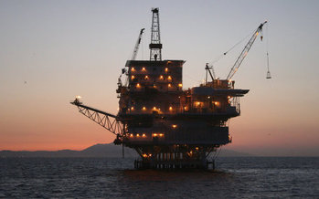 The oil platform Gail, located near Santa Barbara, is one of 24 rigs in federal waters off the California coast. (California Bureau of Ocean Energy Management)