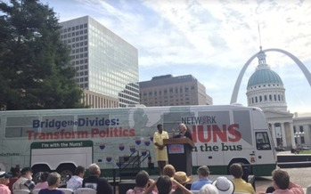 The Nuns on the Bus at a 2015 event in St. Louis. (Nuns on the Bus Facebook)
