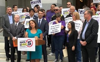 SEIU California Executive Director Alma Hernandez spoke at a rally at the Capitol on Wednesday in opposition to Prop 5. (Rachel Linn Gish/Health Access)