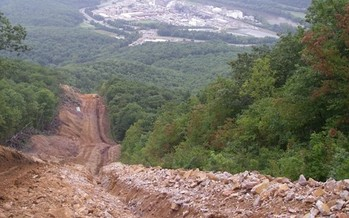 Natural gas pipeline projects through the rugged Appalachian Mountains inevitably run into serious slope erosion problems. (Dominion Pipeline Monitoring Coalition)