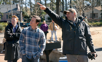 Actor Mark Wahlberg and Director Sean Anders on the set of