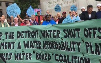 Protesters in Detroit have been pressing the Michigan Legislature to pass a water affordability plan that links rates to household income. (Valerie Jean)