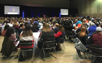 About 800 social workers filled the Lansing Center on Thursday to tackle the big issues of 2018. (Duane Breijak/NASW-MI)