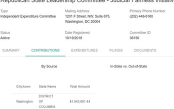 The D.C. based Republican State Leadership Committee, Judicial Fairness Initiative, is spending in WV state and local judicial races, but all of its money comes from one huge donation made in Washington. (WV Secretary of State)