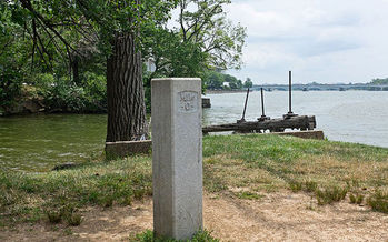 Mile marker zero marks the start of the Chesapeake and Ohio Canal, which has a significant backlog of maintenance needs. (Bonnachoven/Wikimedia Commons)