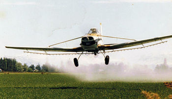 Scientists say the herbicide dicamba often drifts from the fields where it is applied, and ends up killing native plants and birds in nearby areas. (Pholiprids/WikimediaCommons)