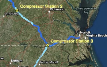 The 600-mile-long pipeline would would carry fracked gas from West Virginia into Virginia and North Carolina, with three compressor stations along the route. (Atlantic Coast Pipeline)