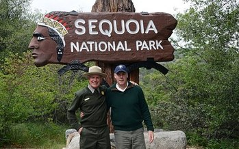 Outgoing U.S. Interior Secretaryr Ryan Zinke visited Sequoia National Park with Superintendent Woody Smeck in 2017. (Dept. of the Interior)