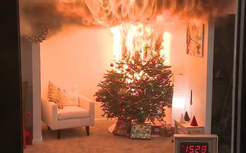 Avoid holiday disaster by keeping live Christmas trees watered daily, or only using artificial trees that are labeled as flame retardant. (U.S. Consumer Product Safety Commission)