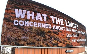 Conservation groups are using billboards like this one in Reno to raise awareness of the Land and Water Conservation Fund, which expired in September. (Get Outdoors Nevada)