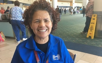 Gladys Hernandez, a passenger service assistant at Portland International Airport, says she has struggled to afford necessities while living on an hourly wage of $12. (SEIU Local 49)