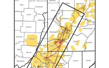 EQT's proposed Hammerhead Pipeline would originate in the southwest corner of Pennsylvania before crossing Marion, Monongalia and Wetzel counties in West Virginia. (EQT)