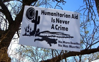 The group No More Deaths supported has posted banners near the Cabeza Prieta refuge supporting the group's efforts to provide aid to migrants. (Flickr)
