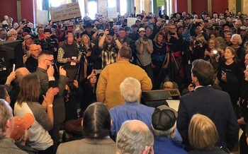 Sen. Jon Tester, D-Mont., touts the Land and Water Conservation Fund during his surprise appearance at a public-lands rally in Helena. (Whitney Tawney/Montana Conservation Voters)