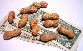 Making peanuts? Progressive groups' legislative priorities this year include a higher minimum wage for Nevadans, and guaranteed sick leave for all. (Cohdra/Morguefile)