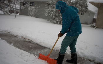 Seniors are at greater risk of injury shoveling snow, and it is also common for people to experience heart attacks from over-exertion. (FEMA)
