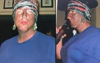 These photos, used with permission of The Tallahassee Democrat, show Florida Secretary of State Michael Ertel in blackface at a 2005 Halloween party. (Tallahassee Democrat)