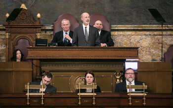 Gov. Tom Wolf is proposing a gas severance tax to raise revenue for infrastructure improvements in Pennsylvania. (Gov. Tom Wolf/Flickr)