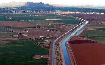 Arizona distributes drinking water though hundreds of miles of canals from the Colorado River basin. (Wikimedia Commons)