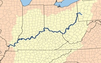 The Ohio River watershed contains most of five states and parts of eight others. (USGS/Karl Musser/Wikipedia)