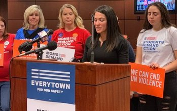 Sandra Jaregui, a survivor of the Las Vegas shooting, speaks at a press conference Tuesday for supporters of stricter gun-sale background checks. (Annette Magnus)