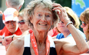 Triathlete Sister Madonna Buder, 89, a world champion in her age group, will appear this weekend at the Tri for the Cure Marathon in Anthem. (AARP)