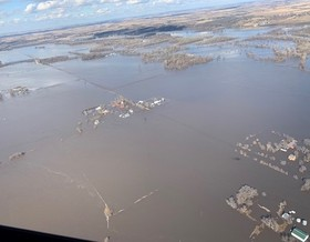 Flooded apartments along the Elkhorn River north of Columbus, Neb., after a