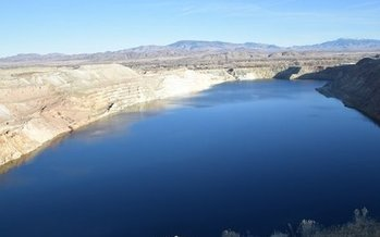 A large pit lake remains at the site of the abandoned Anaconda Copper Mine in Mason Valley, Nev. (Ian Bigley)