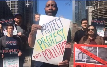 Activists gathered in Chicago to speak out against a bill they say intends to silence protestors of oil and gas infrastructure. (The People's Lobby)