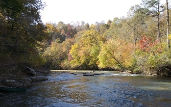 The Jacob Fork River in Catawba County flows along a 188-acre property acquired by Foothills Conservancy of North Carolina. (Foothills Conservancy of North Carolina) <br />