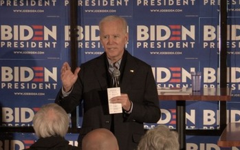 Former U.S. Vice President Joe Biden knows more than 4 in 10 New Hampshire voters aren't affiliated with a political party, and is counting on appealing to independents. (Kevin Bowe)