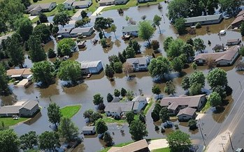 Hundreds of homes and other structure are partially or fully submerged in record floodwaters over the past few weeks. (FEMA)