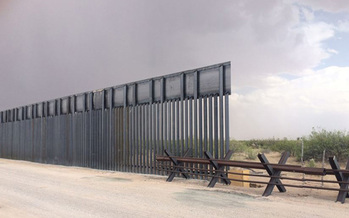 A segment of border wall is under construction near the Port of Entry at Santa Teresa, N. M.  (Center for Biological Diversity)