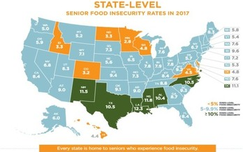 In 2017, 7.7% of American seniors were at risk of going hungry. (Feeding America)